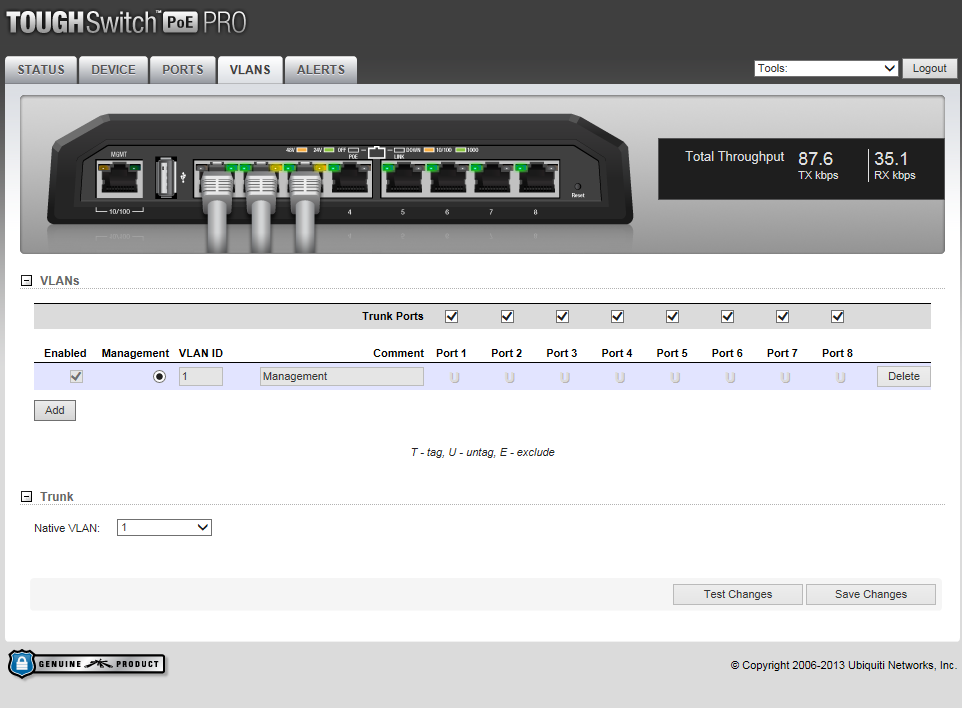 ToughSwitch Vlans Screen