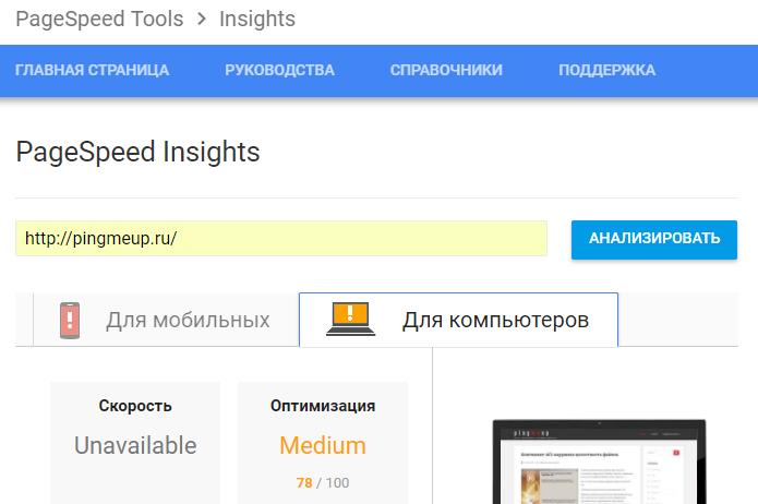 Правильная настройка рекоммендаций Google PageSpeed Insights на www.pingmeup.ru