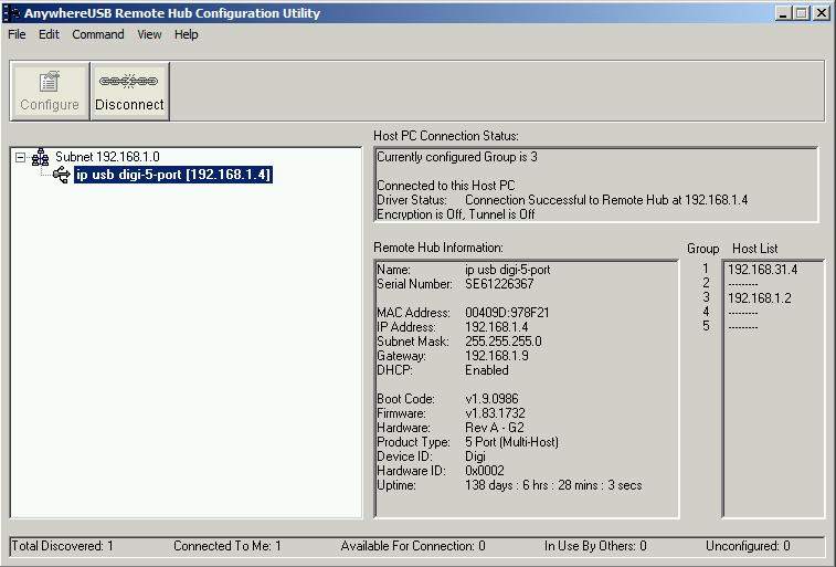 Окно утилиты конфигурирования AnywhereUSB Remote Hub Configuration Utility.