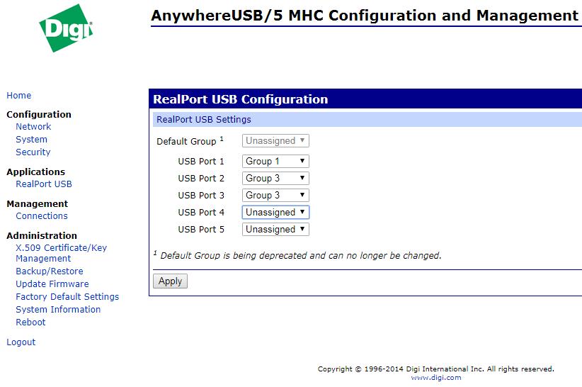 Настройка групп и интерфейсов, в меню RealPort USB Configuration.