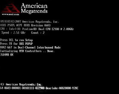 Экран прохождения post- теста BIOS от AMI