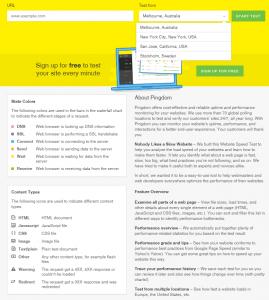 Окно ввода адреса диагностируемого сайта и выбор географического места проверки скорости загрузки сайта