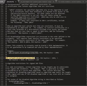 Закомментируем параметр jdk.certpath.disabledAlgorithms = MD2, RSA keySize < 1024