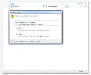 """На скриншоте: Запрос на обновление Java машины. Нужно выбрать вариант """"Later""""."""