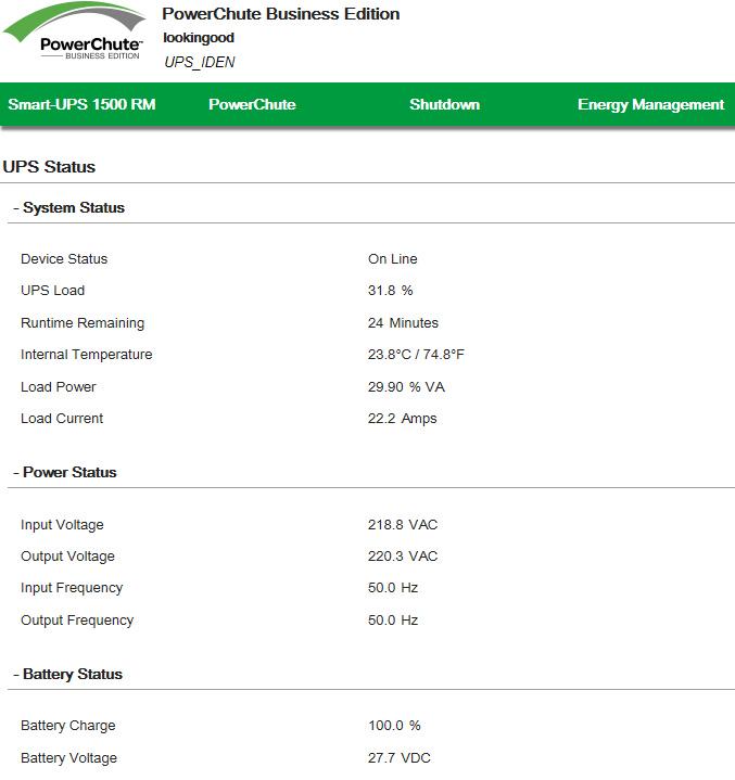 APC PowerShute: UPS Status. Battery Status.